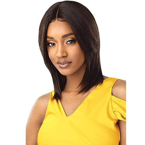 Outre 100% Human Hair Lace Wigs NATURAL BLACK Outre Mytresses Gold Label 100% Unprocessed Human Hair Lace Front Wig - NATURAL STRAIGHT 16-18""