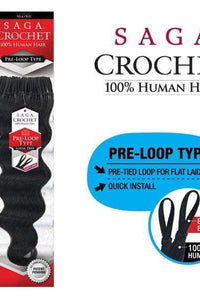 "Saga Crochet Braid 1 / 10"" Saga Human Hair Crochet Braid - LOOP LOOSE DEEP 10"" 12"" 14"" 16"""