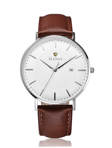 KING SIGNATURE SERIES MEN'S AND WOMEN'S WATCH BROWN LEATHER
