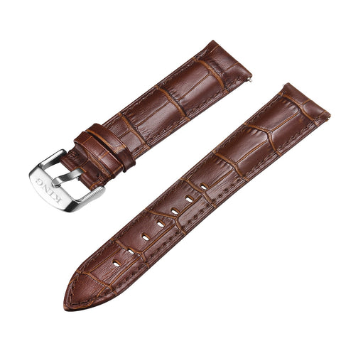 KING 20MM Croc Pattern Leather Strap | Brown