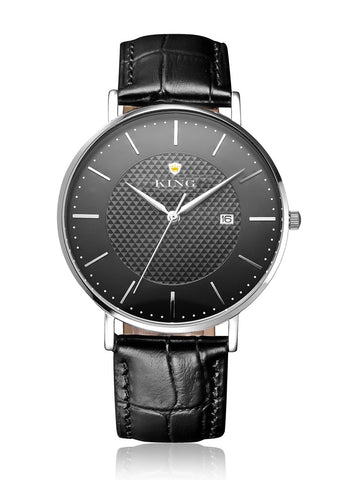 KING SIGNATURE SERIES MEN'S AND WOMEN'S WATCH BLACK LEATHER