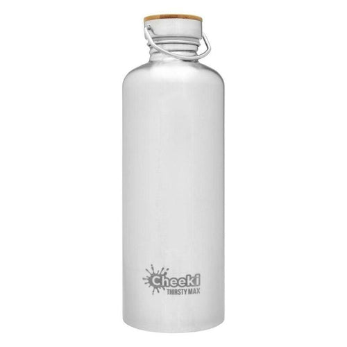 Cheeki Stainless Steel Single Wall Bottle, 1.6L Thirsty Max Silver- The Clean Collective