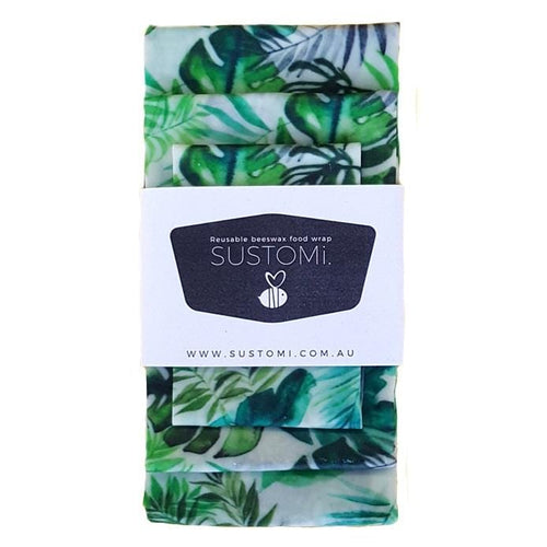 Sustomi Beeswax Food Wraps 3 Pack, Tropical Fronds