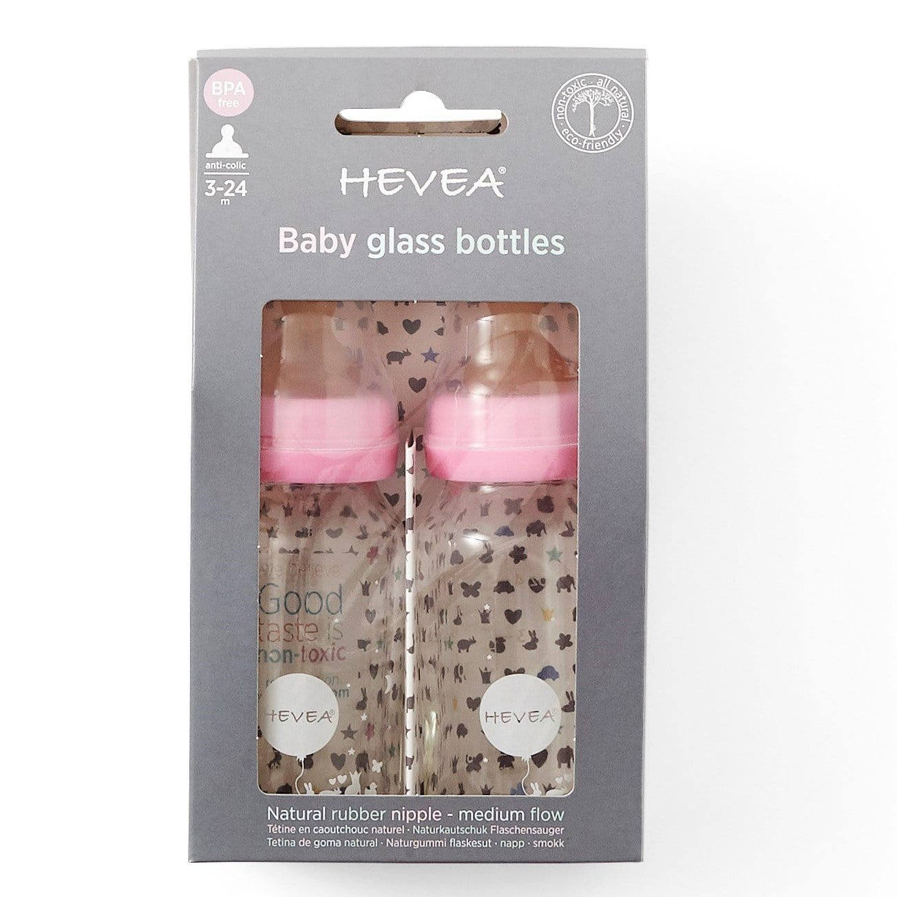 Hevea Glass Baby Bottle 120ml, 2 Pack Pink