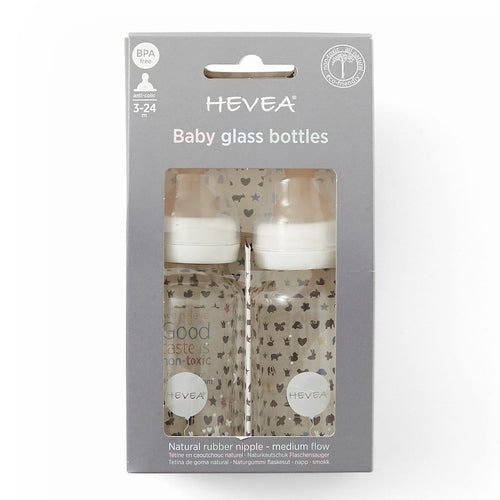 Hevea Glass Baby Bottle 120ml, 2 Pack White