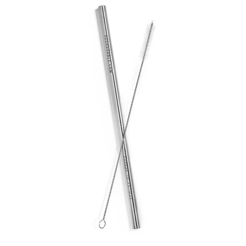 ReChusable Straight Straw & Cleaner, Silver - 1 Pack