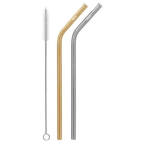 Cheeki Stainless Steel Straws, Bent 2 Pack, Silver & Gold- The Clean Collective