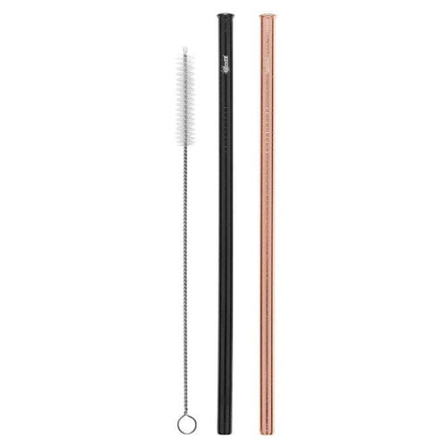 Cheeki Stainless Steel Straws, Straight 2 Pack, Rose Gold & Black- The Clean Collective