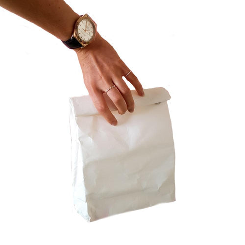 Sustomi Washable Wax Paper Lunch Bag, White