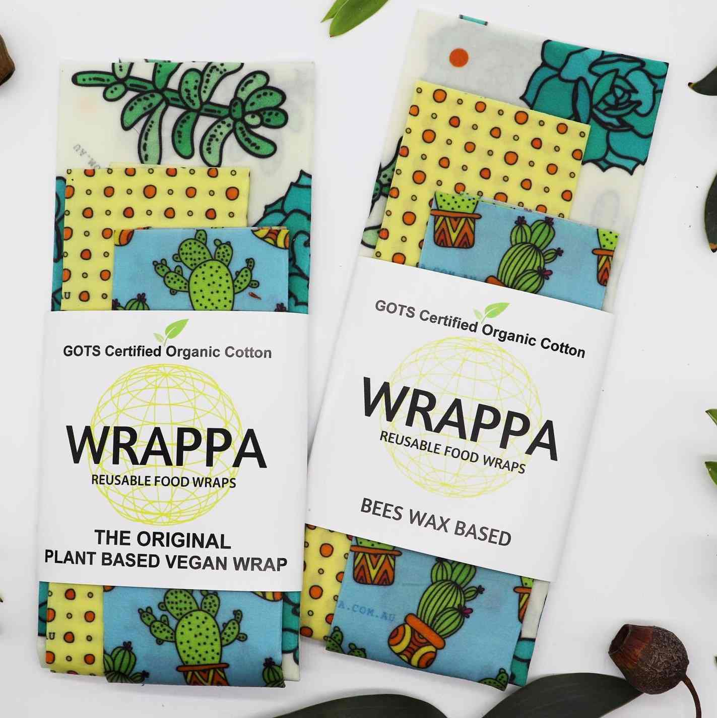 Wrappa Beeswax/Vegan Wraps, Cacti & Succulents, 3 pack