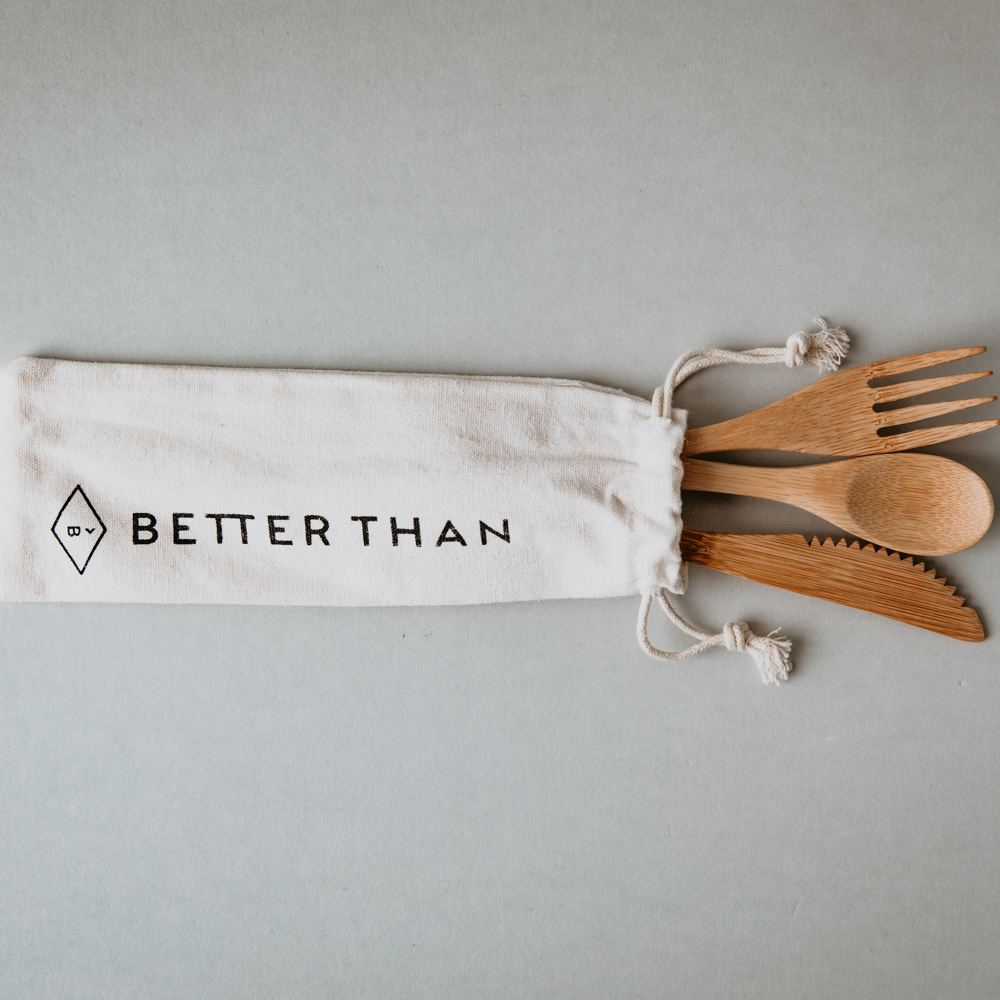 Better Than Bamboo Cutlery with Travel Pouch