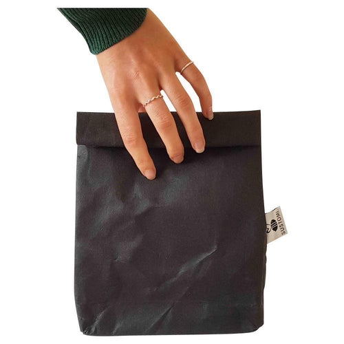 Sustomi Washable Wax Paper Lunch Bag, Charcoal