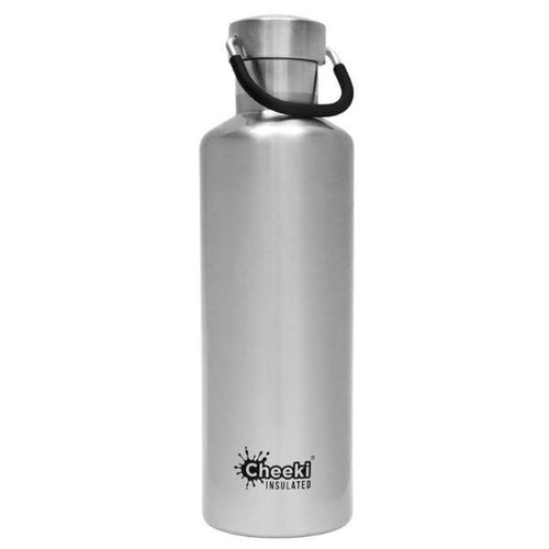 Cheeki Stainless Steel Insulated Bottle, 600ml Silver - The Clean Collective