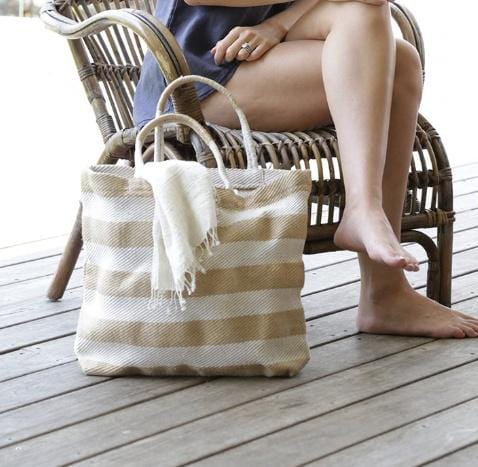 The Dharma Door Pacific Shopper, Natural & White Wide Stripe