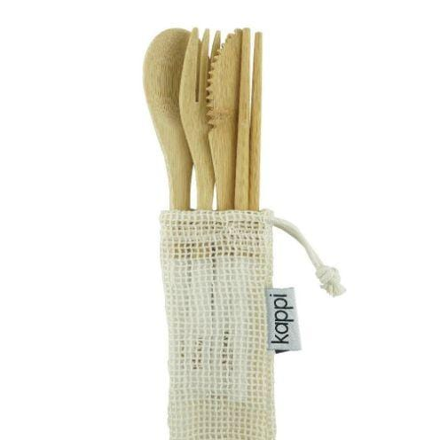 Kappi Reusable Bamboo Cutlery Set with Pouch- The Clean Collective