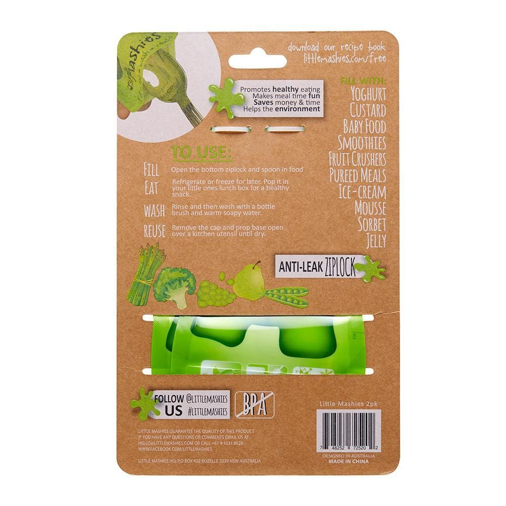 Little Mashies Reusable Food Pouches, Green - 2 Pack