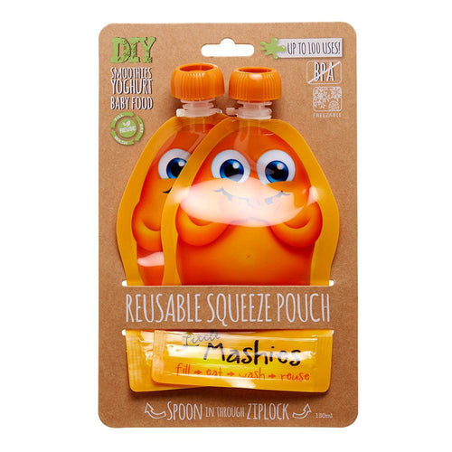 Little Mashies Reusable Food Pouches, Orange - 2 Pack