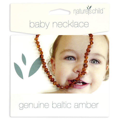 Nature's Child Baltic Amber Baby Necklace, Cognac