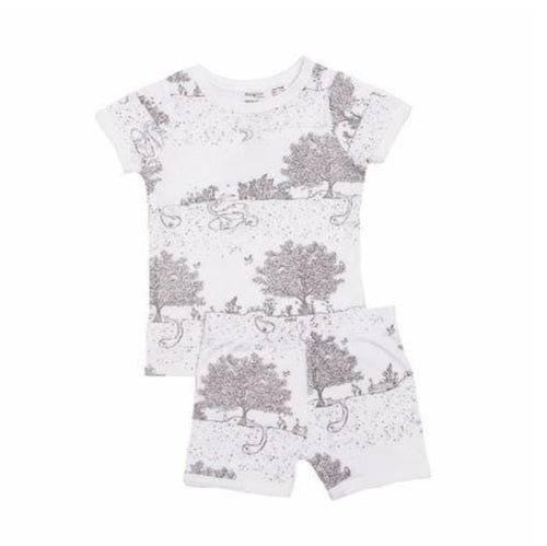 Niovi Organics Kids Short John PJ Set, Spring Time Night Garden- The Clean Collective