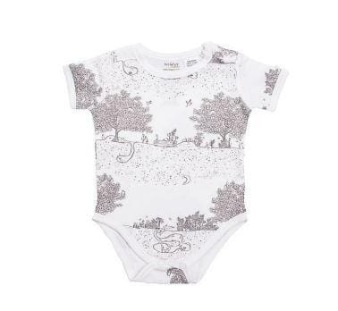 Niovi Organics Short Sleeve Body Suits, Spring Time Night Garden- The Clean Collective