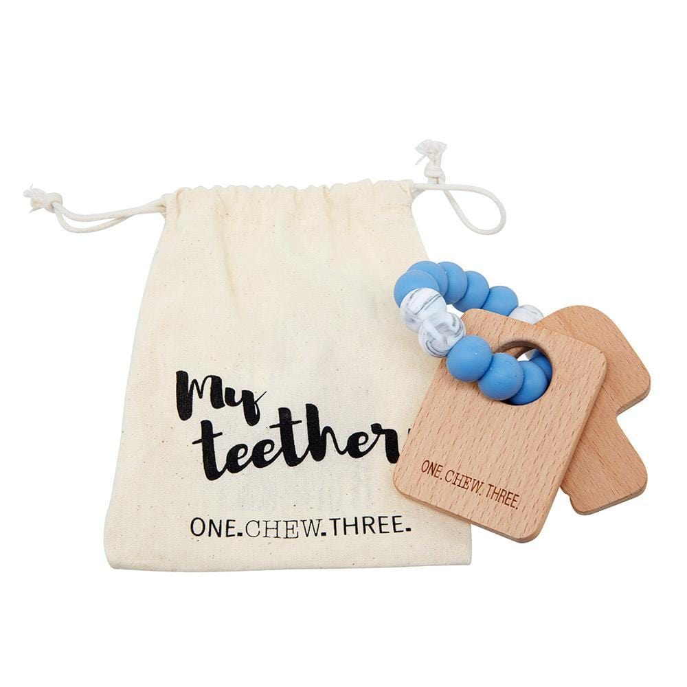 One Chew Three Keys To My Heart, Silicone & Beechwood Teether - Blue