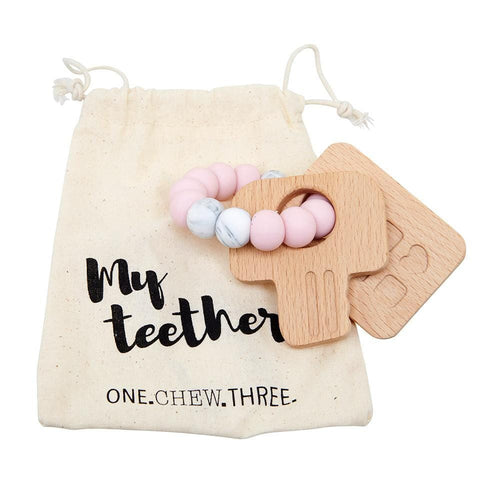 One Chew Three Keys To My Heart, Silicone & Beechwood Teether - Pink