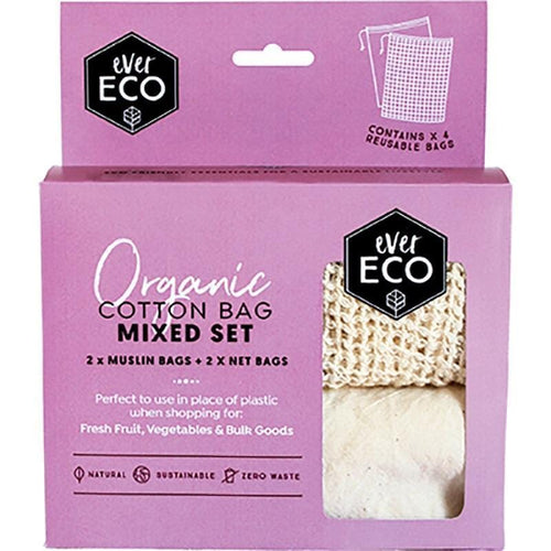 Ever Eco Organic Cotton Produce Bags, Mixed - 4 Pack