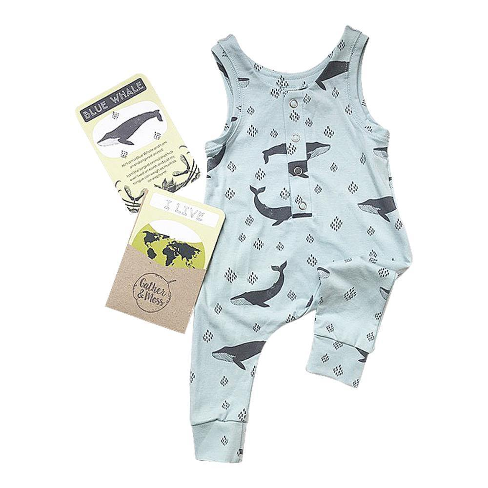 Gather and Moss Organic Cotton Harem Romper, Endangered Blue Whale