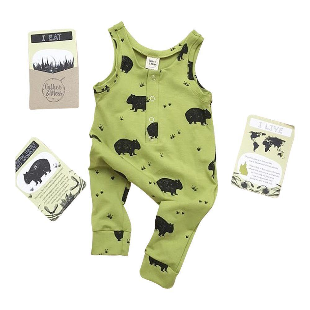 Gather and Moss Organic Cotton Harem Romper, Endangered Northern Hairy Nosed Wombat