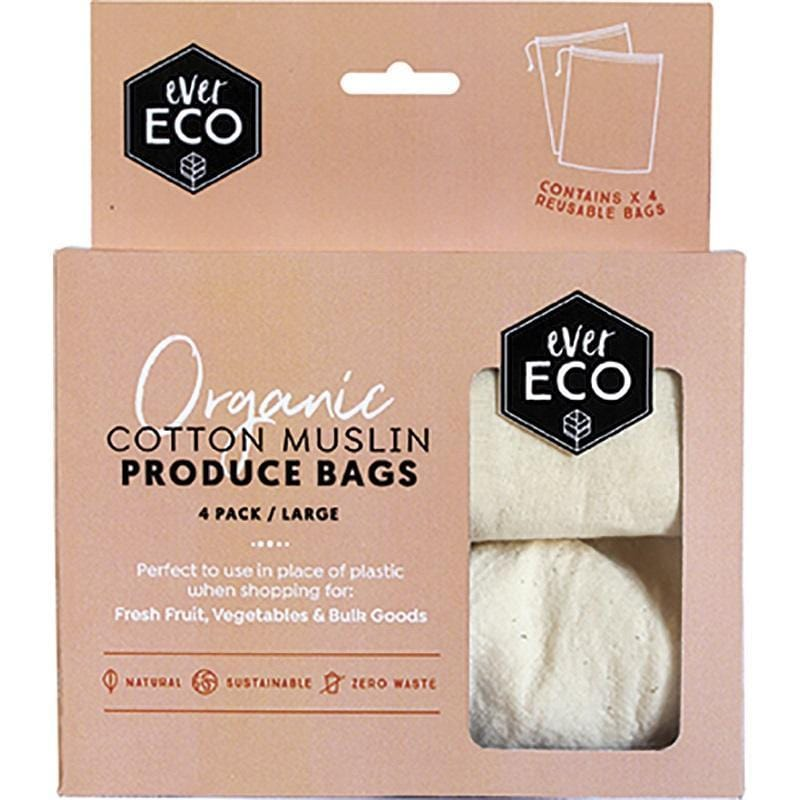 Ever Eco Organic Cotton Muslin Produce Bags, Large - 4 pack