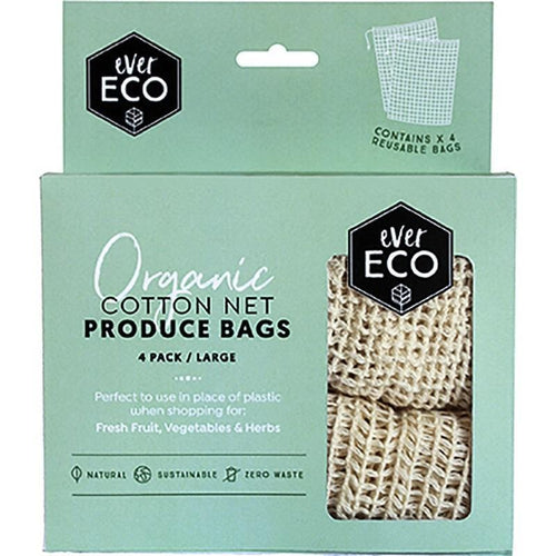 Ever Eco Organic Cotton Produce Bags, Netting - 4 pack