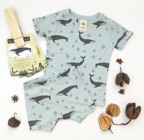 Organic Cotton Summer Pyjama Set, Endangered Blue Whale