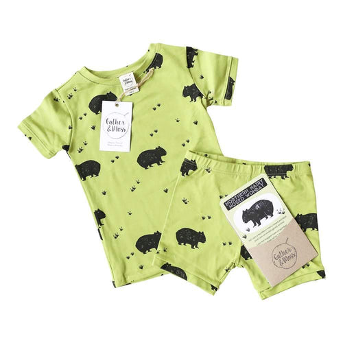 Organic Cotton Summer Pyjama Set, Endangered Northern Hairy Nosed Wombat
