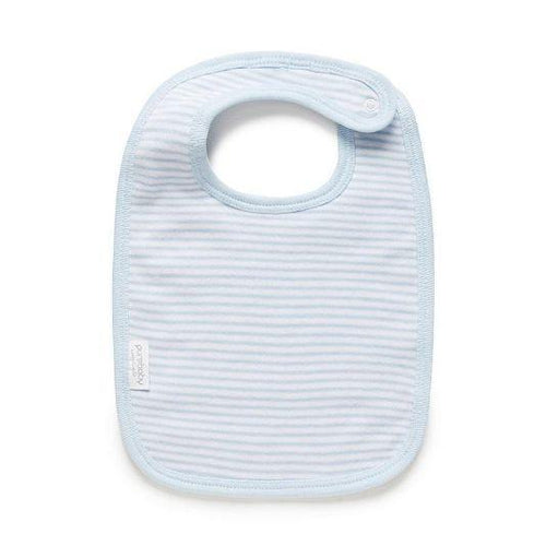Purebaby Bib Blue Melange Stripe- The Clean Collective