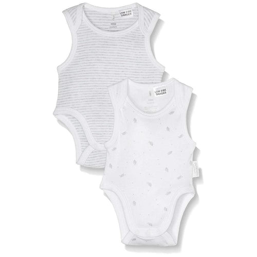 Purebaby Bodysuit 2 Pack, Pale Grey Stripe and Leaf