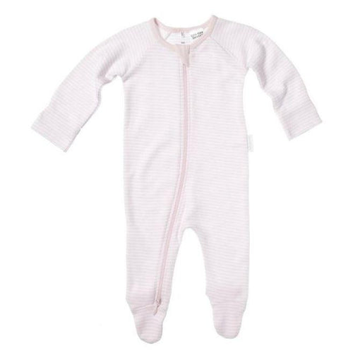Purebaby Zip Growsuit, Pale Pink Stripe- The Clean Collective