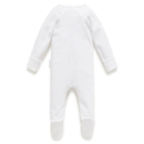 Purebaby Zip Growsuit, White- The Clean Collective