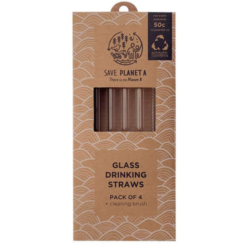 Save Planet A Glass Drinking Straws, Pack of 4