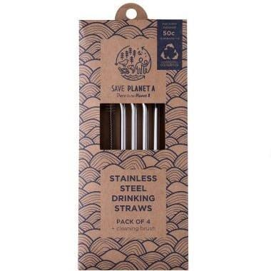 Save Planet A Stainless Steel Bent Drinking Straws, Pack of 4