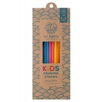 Save Planet A Kids Drinking Straws, Pack of 6