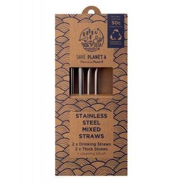 Save Planet A Stainless Steel Mixed Straws, Pack of 4