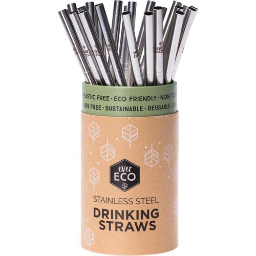 Ever Eco Straight Straws, Silver - 4 pack