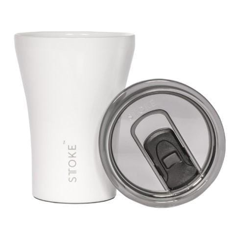 Sttoke Ceramic Reusable Coffee Cup, Angel White - The Clean Collective