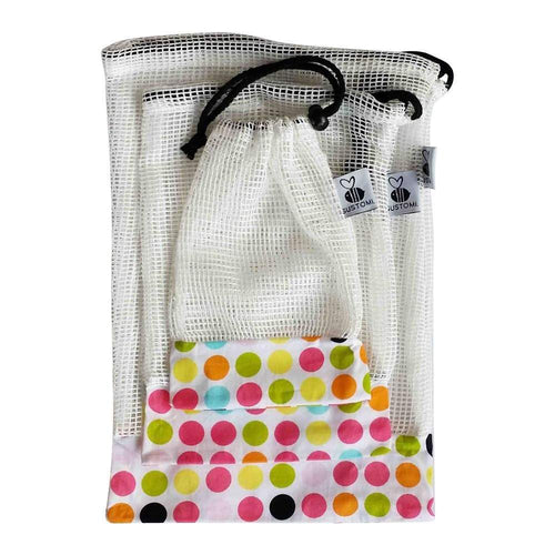 Sustomi Mesh Produce Bags Set of 3, Polka Dot