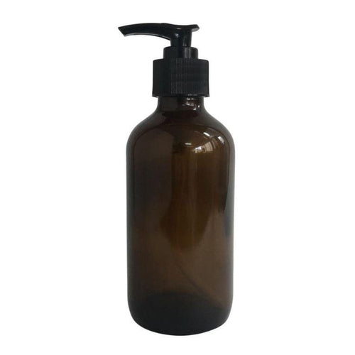 The Clean Collective Amber Glass Bottle With Pump, 240ml