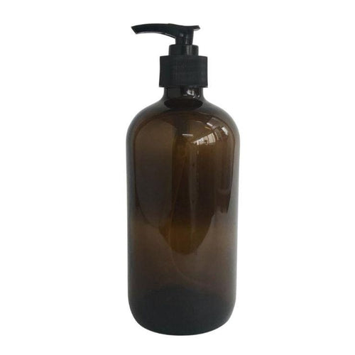 The Clean Collective Amber Glass Bottle With Pump, 480ml