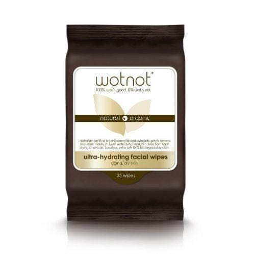 Wotnot Ultra-Hydrating Face Wipes for Aging/Dry Skin, 25 pack