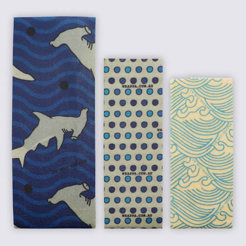 Wrappa Beeswax/Vegan Wraps, Hammerhead Time, 3 pack