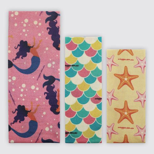 Wrappa Beeswax/Vegan Wraps, Mermaid Magic, 3 pack