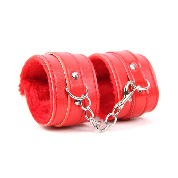 Red Bondage Leather Handcuffs